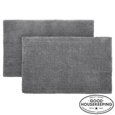 Charcoal 21 in. x 34 in. Cotton Reversible Bath Rug (Set of 2)