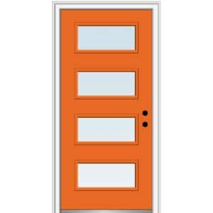 32 in. x 80 in. Celeste Left-Hand Inswing 4-Lite Clear Painted Fiberglass Smooth Prehung Front Door, 4-9/16 in. Frame