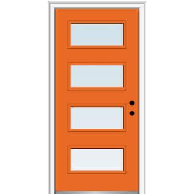 36 in. x 80 in. Celeste Low-E Glass Left-Hand Inswing 4-Lite Clear Painted Steel Prehung Front Door