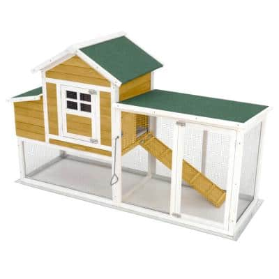 Large 74 in. Modular Chicken Coop Poultry and Hen House with Solid Top Shaded Run/Yard