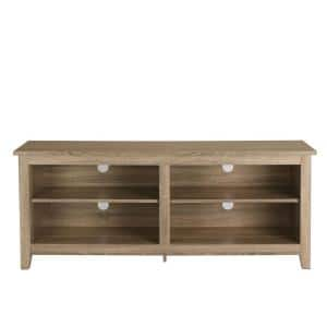 58 in. Driftwood Composite TV Stand 64 in. with Adjustable Shelves