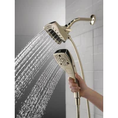In2ition 5-Spray Patterns 2.5 GPM 5.25 in. Wall Mount Dual Shower Heads with H2Okinetic in Lumicoat Polished Nickel