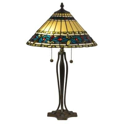 25.5 in. Antique Bronze Verde Table Lamp with Hand Rolled Art Glass