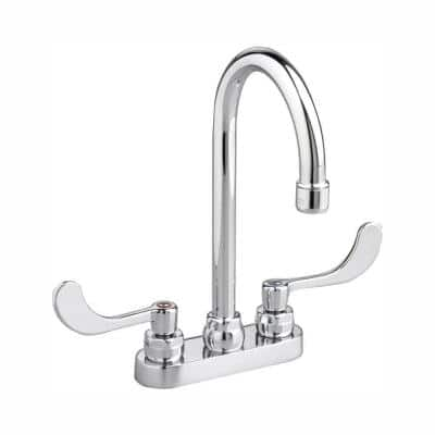 Monterrey 4 in. Centerset 2-Handle 1.5 GPM Gooseneck Bathroom Faucet with Laminar Flow in Polished Chrome