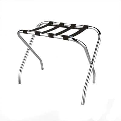 Folding Luggage Rack with Chrome Stand and Nylon Straps Holds Suitcases or Bags and Folds Flat for Storage