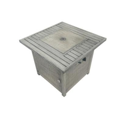 28.54 in. W x 24.41 in. H Outdoor Steel Rectangular Liquid Propane Light Grey Fire Pit Table with Lava Rocks and Cover