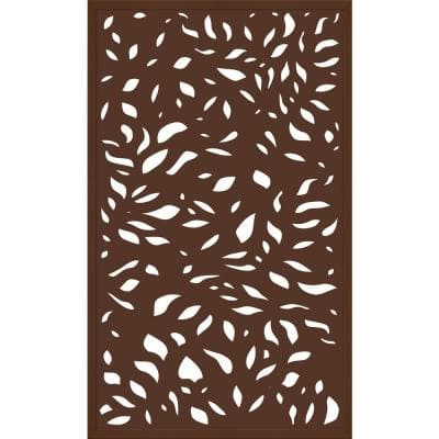 5 ft. x 3 ft. Framed Espresso Brown Decorative Composite Fence Panel featured in The Leaf Design