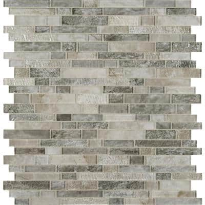 Savoy Interlocking 12 in. x 12 in. x 8 mm Glossy/ Textured Glass Mesh-Mounted Mosaic Tile (1 sq. ft.)