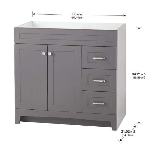 Home Decorators Collection Thornbriar 36 In W X 21 In D Bathroom Vanity Cabinet In Cement Tb3621 Ct The Home Depot