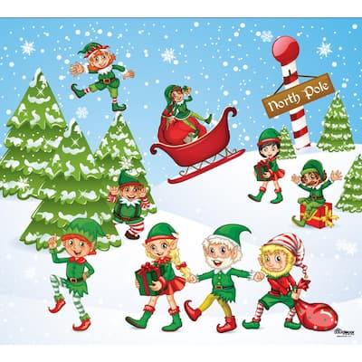 7 ft. x 8 ft. North Pole Elves-Christmas Garage Door Decor Mural for Single Car Garage