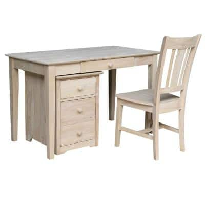 48 in. Rectangular Unfinished 3 Drawer Computer Desk with Built-In Storage