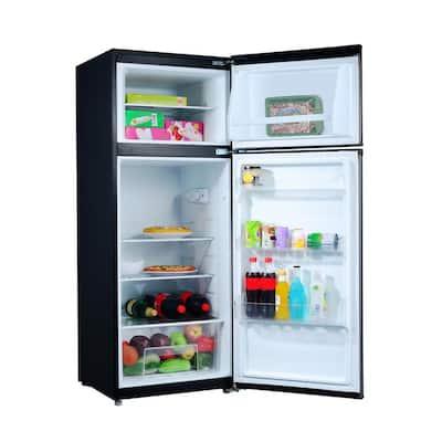 7.6 cu. ft. Top Freezer Refrigerator with Dual Door in Stainless Steel Look