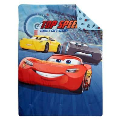 4-Piece Red, Navy and Yellow Cars 3-Top Speed Toddler Bed Set