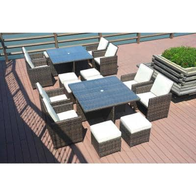 Beverly Brown Aluminum 18-Pieces Wicker Patio Furniture Outdoor Dining Set with Beige Cushion and Ottomans