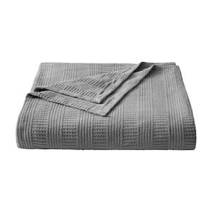 1-Piece Grey Rope Stripe Cotton Full/Queen Blanket