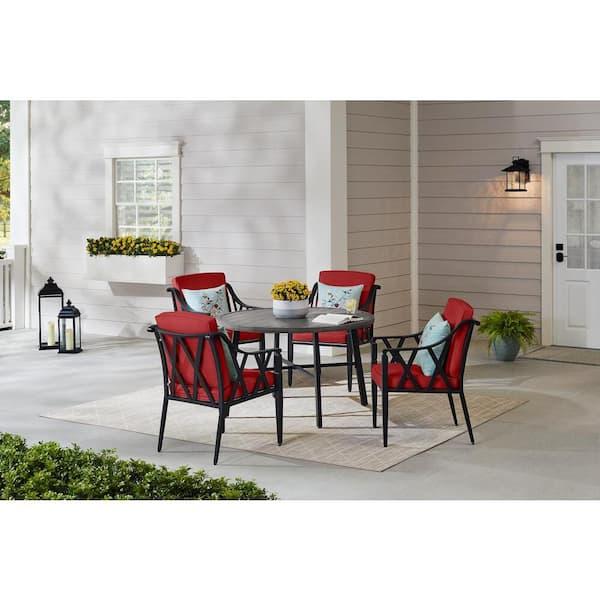 Hampton Bay Harmony Hill 5 Piece Black, Red Patio Table Set
