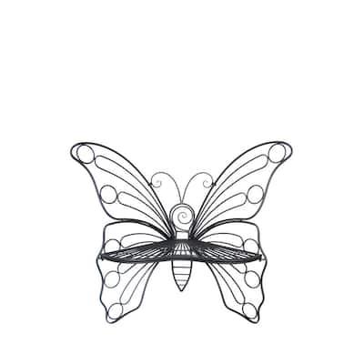 Antique Black Butterfly Bench- Garden Statue