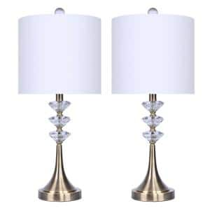 25.5 in. Antique Soft Brass Accents Genuine Crystal Lamp with and Off-White Linen Drum Shades (2-Pack)