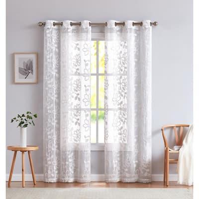 White Floral Grommet Room Darkening Curtain - 38 in. W x 84 in. L (Set of 2)