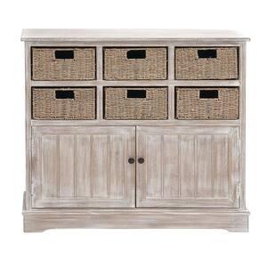 LITTON LANE Classic Pine Wood & MDF Basket Cabinet Deals