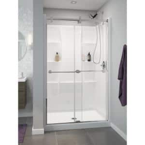 Classic 400 48 in. W x 74 in. H Three Piece Direct-to-Stud Alcove Shower Wall Surround in High Gloss White