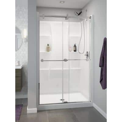 Classic 400 48 in. W x 72.25 in. H Three Piece Direct-to-Stud Alcove Shower Wall Surround in High Gloss White