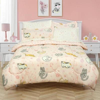 Sleepy Cats Super Soft Pink Microfiber Full Bed in a Bag with Reversible Comforter and Sheet Set