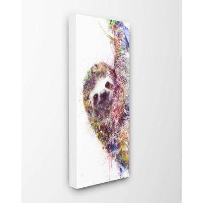 """10 in. x 24 in. """"Minimal Sloth Painterly Watercolor Abstract """"by Artist VeeBee Canvas Wall Art"""