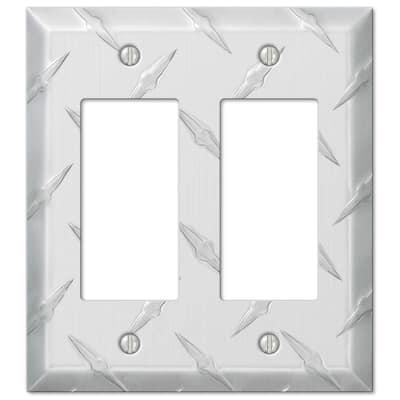 Diamond Plate 2 Gang Rocker Aluminum Wall Plate - Aluminum