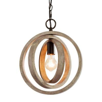 Farmhouse Geometric Island Chandelier 1-Light Wood Orb Pendant with Rustic Bronze Canopy
