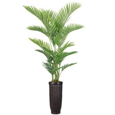 84 in. Real Touch Palm Tree in Fiberstone Planter