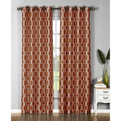 Rust Geometric Faux Silk Grommet Room Darkening Curtain - 54 in. W x 96 in. L  (Set of 2)
