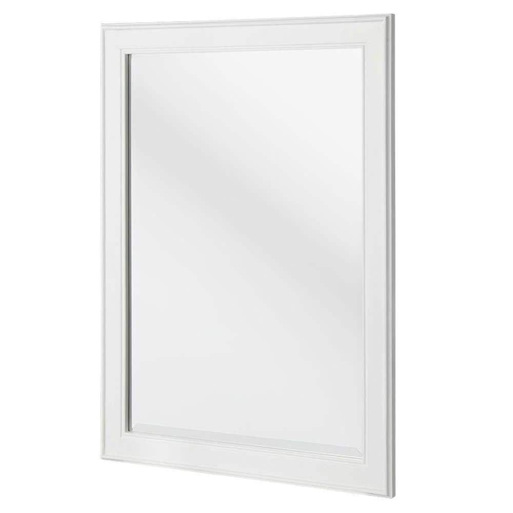Home Decorators Collection 24 In W X 32 In H Framed Rectangular Beveled Edge Bathroom Vanity Mirror In White Gawm2432 The Home Depot