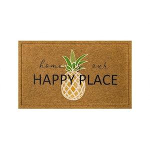Pineapple Happy Home Natural 18 in. x 30 in. Faux Coir Doormat