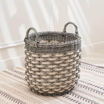 Valeria Small Round Stackable Resin Plant Pot and Decorative Basket