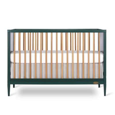 Sleepy Little Sloth 4-in-1 Olive Modern Island Crib with Rounded Spindles, Convertible Crib