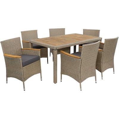 Foxford 7-Piece Rattan and Acacia Patio Dining Furniture Set