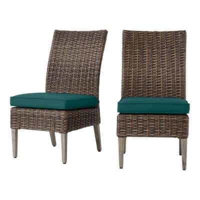 Rock Cliff Brown Stationary Wicker Outdoor Armless Dining Chair with CushionGuard Malachite Green Cushions (2-Pack)