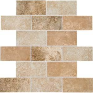 Grand Cayman Oyster Blend 12 in. x 12 in. x 8 mm Ceramic Brick-Joint Mosaic Floor and Wall Tile (0.833 sq. ft. / piece)