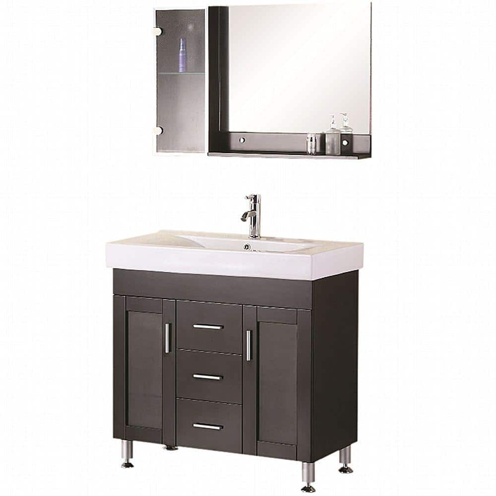 Design Element Miami 36 In W X 19 In D Vanity In Espresso With Porcelain Vanity Top And Mirror In White Dec021 The Home Depot