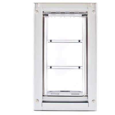 14 in. L x 8 in. W Medium Double Flap for Walls with White Aluminum Frame