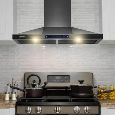 30 in. 343 CFM Convertible Wall Mount Black Stainless Steel Kitchen Range Hood with Touch Panel