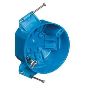 Polycarbonate Blue 20 cu. in. Round New Work Ceiling Electrical Box