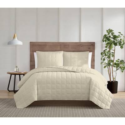 Silver Cool 3-Piece Khaki Full/Queen Cotton Quilt Set