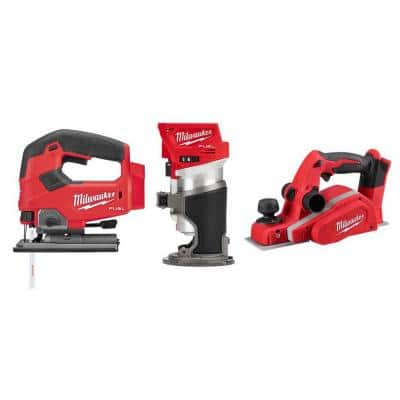M18 FUEL 18-Volt Lithium-Ion Brushless Cordless Jig Saw/Compact Router/3-1/4 in. Planer Combo Kit (3-Tool)