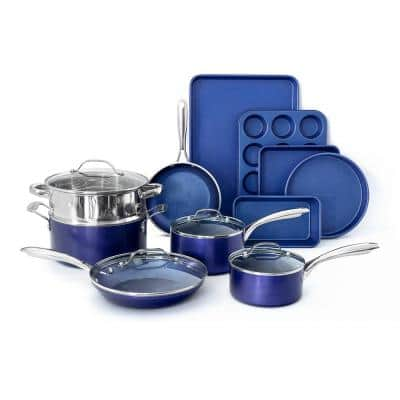 Classic Blue 15-Piece Aluminum Ultra-Durable Non-Stick Diamond Infused Cookware and Bakeware Set