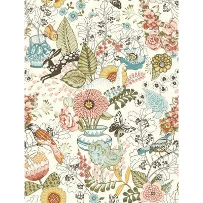 Whimsy Pink Fauna Paper Non-Pasted Wallpaper Roll (Covers 56.4 Sq. Ft.)