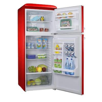 10.0 cu. ft. Retro Top Freezer Refrigerator with Dual Door True Freezer, Frost Free in Red