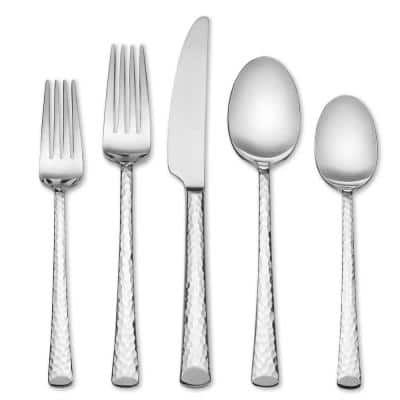 Vale Hammered 20 Piece 18/0 Stainless Steel Flatware Set (Service for 4) Forged