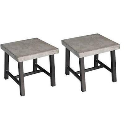 Hamma Square Aluminum Outdoor Side Table (2-Set)
